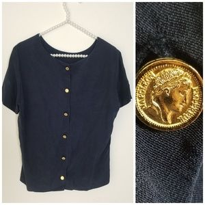 Vintage Navy Silk Button-Back Top